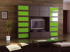 Яркая гостиная в современном стиле из МДФ в плёнке с зелеными вставками