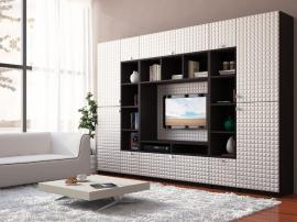 Яркая красивая мебель для гостиной на заказ с 3D фасадами белого цвета