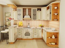 П-образная кухня белая кухня с патиной из МДФ в эмали ''Кантри''