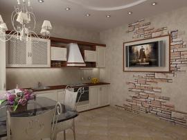 Небольшая кухня в стиле городской классики когда корпус кухни намеренно контрастируем с фасадами