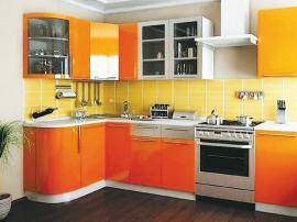 Яркая кухня под заказ МДФ ПВХ ''Оранжевая''
