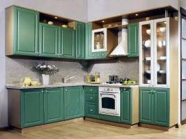 Зёлёная угловая кухня из МДФ ПВХ ''Изумрудная''