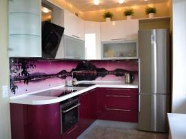 Встроенная угловая кухня из МДФ в пластике ''Фиолетовый закат'' на заказ
