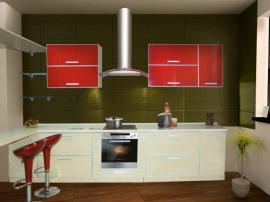 Кухня кухня из МДФ в пластике «Красное и Белое» на заказ