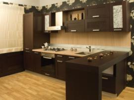 Чёрная кухня МДФ шпон в японском стиле образец №1