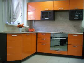 Кухня оранжевого цвета МДФ пленка