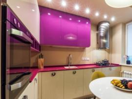 Стильная кухня из МДФ в эмали фото работы №2