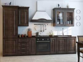 Красивая классическая тёмная кухня №8
