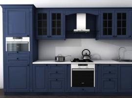 Индивидуальная красивая синяя кухня крашеная матовой эмалью №7