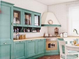 Кухня в шпоне бирюзового цвета в скандинавском стиле
