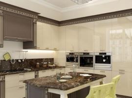 Классическая кухня с глянцевыми фасадами