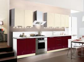 Кухня ПВХ недорогая красного цвета