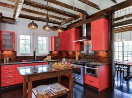 Современная модная кухня в стиле ЛОФТ кораллового цвета