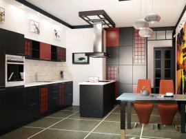 Черная кухня в восточном японском стиле в эмали