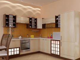 кухня в восточном японском стиле с фасадами ПВХ молочного цвета