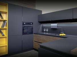 Кухня с фасадами Fenix и Cleaf
