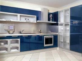 Синяя кухня в эмали