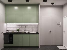 Бледно- зелёная кухня в матовой эмали трёхуровневая