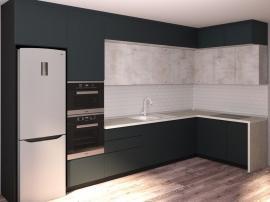 Встроенная кухня в 3 ряда серая