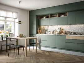 Кухня матовая пастельно- зелёного цвета в три яруса