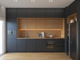 Встроенная тёмно-серая угловая кухня трёхуровневая