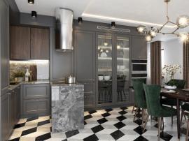 Адажио - дорогая кухня с барным столиком для готовки