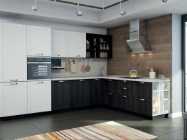 Аделина - чёрная и белая кухня по индивидуальному заказу из МДФ ПВХ