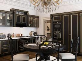 Венеция- шикарная мебель из МДФ с золотой патиной и пилястрами