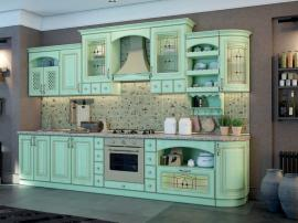 Восточная Италия - кухня в восточном стиле с зелеными фасадами